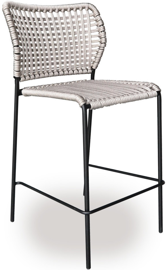 Incredible Tonon Corda Weatherproof Counter Stool With Plastic Woven Rope Seat And Back On Stainless Steel Frame Pabps2019 Chair Design Images Pabps2019Com